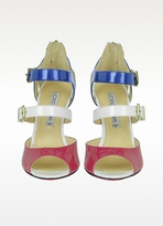 Luciano Padovan White, Blue and Fuchsia Patent Leather Sandal