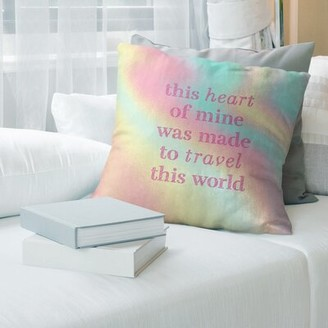 "East Urban Home Multicolor Background Travel Love Quote Pillow Size: 18"" x 18"", Color: Pastel Rainbow"