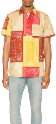 The North Face Short Sleeve Baytrail Pattern Shirt in Sunbaked Red Bandana Renewal Multi Print | FWRD