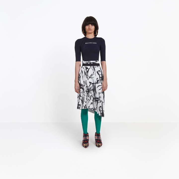 Balenciaga Asymmetrical draped pleated skirt