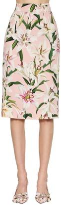 Dolce & Gabbana Printed Cady Stretch Pencil Skirt