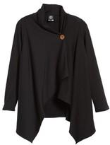 Bobeau Petite Women's One-Button Fleece Wrap Cardigan