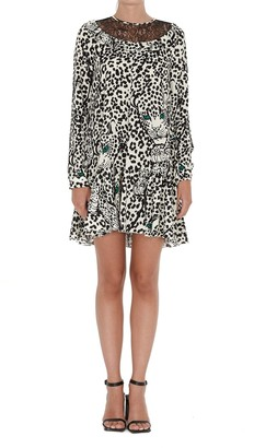 RED Valentino Leopard Print Lace Panelled Dress