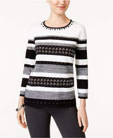 Alfred Dunner Petite Studded Striped Sweater