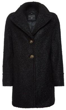 Dorothy Perkins Womens Black Button Front Boucle Coat, Black