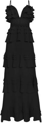 True Decadence Black Linen Tiered Ruffle Crochet Waist Maxi Dress