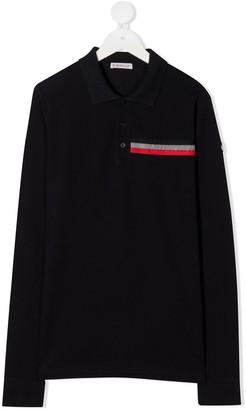 Moncler Enfant Long Sleeve Embossed Logo Shirt