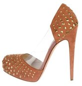 Brian Atwood Studded Suede Platforms