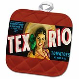 3dRose BLN Vintage Label and Advertising Art - Tex Rio Tomatoes La Feria Texas with Pretty Girl in Colorful Outfit - 8x8 Potholder (phl_171117_1)