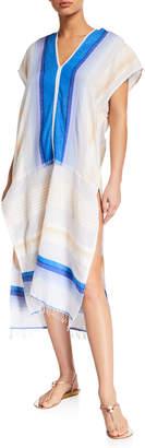 Lemlem Biftu Colorblocked Cotton Caftan Dress