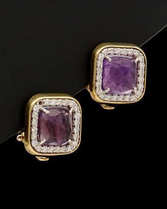 Italian Gold 14K 4.70 Ct. Tw. Diamond & Purple Amethyst Clip Earrings