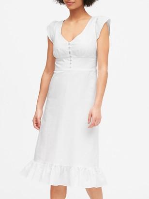 Banana Republic Petite Linen-Cotton Button-Front Midi Dress