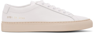 Common Projects White and Pink Original Achilles Low Sneakers