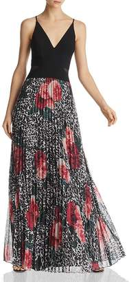 Aqua Pleated Floral & Animal Print Gown - 100% Exclusive