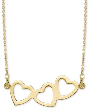 """Sarah Chloe Triple Heart Pendant Necklace, 16"""" + 2"""" extender in 14k white or yellow gold."""