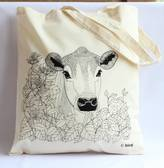 Bird Through The Hedge 'Cow' Tote Bag
