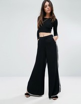 Warehouse Contrast Piping Wide Leg Pant