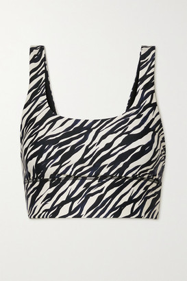 The Upside Nadiya Zebra-print Stretch Sports Bra - Black