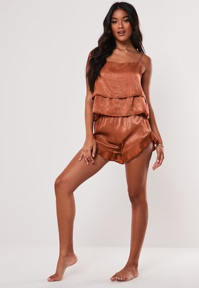 Missguided Rust Satin Sheen Square Neck Pyjama Crop Top