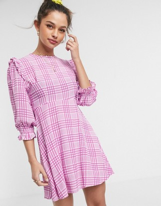 Faithfull The Brand Faithfull edwina short sleeve check mini dress