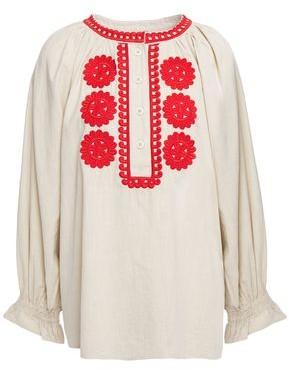 Antik Batik Zida Embroidered Cotton-gauze Blouse