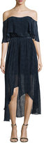 Camilla And Marc Off-The-Shoulder Draped High-Low Cocktail Dress, Ink