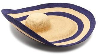 Lola Hats Smoke Rings Woven-raffia Hat - Beige Navy