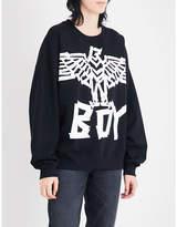 Boy London Eagle tape-print cotton-jersey sweatshirt