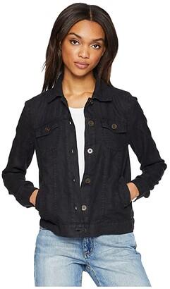Michael Stars Woven Linen Jean Jacket (Black) Women's Coat