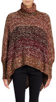 Design Lab Lord & Taylor Multi Yarn Turtleneck Poncho Sweater