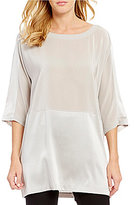 Eileen Fisher 3/4 Sleeve Crepe De Chine Box Top