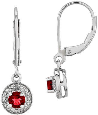 FINE JEWELRY Lab-Created Red Ruby and Diamond Accent Drop Earrings in Sterling Silver