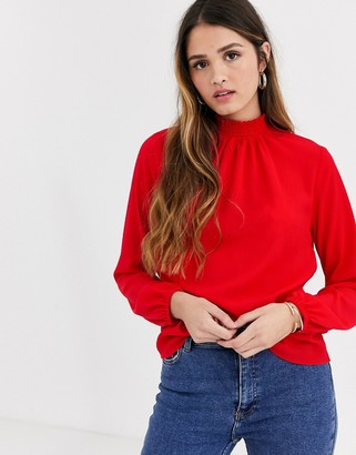 New Look shirred neck blouse in bright red