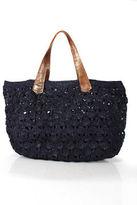 Mar y Sol Blue Crochet Knit Open Top Double Strap One Pocket Tote Handbag