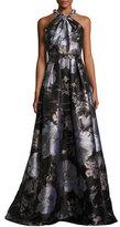 Carmen Marc Valvo Sleeveless Floral Satin Ball Gown, Black/Silver