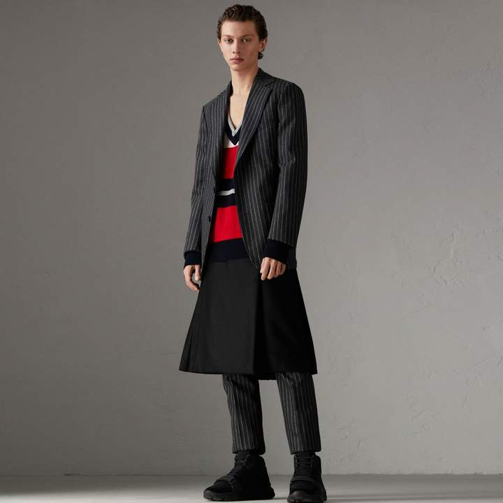 Burberry Pinstriped Wool Blend Twill Tailored Jacket