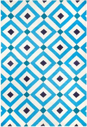 Jonathan Adler Navy/Light Blue Crawford Reversible Peruvian Flat Weave Rug
