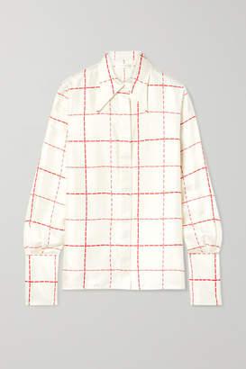 Victoria Beckham Checked Silk-satin Shirt - Ivory