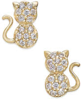 Macy's Cubic Zirconia Kitty Cat Stud Earrings in 10k Gold