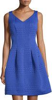 Taylor Circle-Jacquard Sleeveless Fit-&-Flare Dress, Cornflower