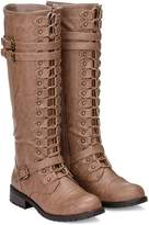 Wild Diva Women's Knee High Lace Up Buckle Military Combat Boots (8.5, )