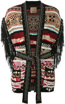 Laneus fringed sleeve cardigan - women - Cotton/Polyester/Polyurethane/glass - 42