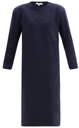 Tibi Shoulder-padded Long-sleeved Cotton-jersey Dress - Navy