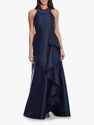 Adrianna Papell Mikado Cascade Gown, Midnight