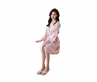 Crow Pajamas women with chest mat similarities v-neck sexy tape sleep lace lap robe two-piece set casual home service sexy set lady pajamas