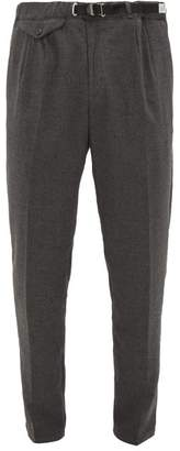 White Sand - Belted Brushed Technical-twill Trousers - Mens - Grey