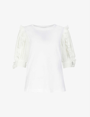 Sandro Ruffled cotton-jersey T-shirt