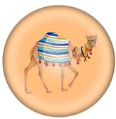 Cathy's Concepts Camel Domed Glass Paperweight - Orange