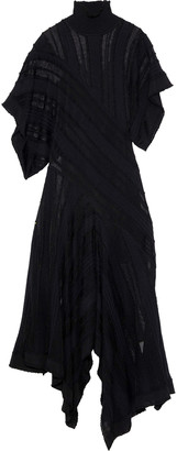 Roberto Cavalli Asymmetric Crochet-knit Turtleneck Maxi Dress