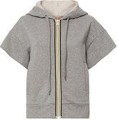 No.21 No. 21 Grey Short Sleeve Ruffle Hoodie